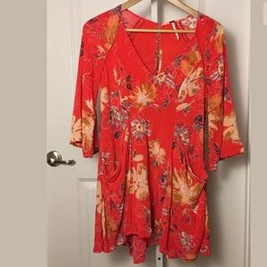 Free People Red Floral Dress Size 0